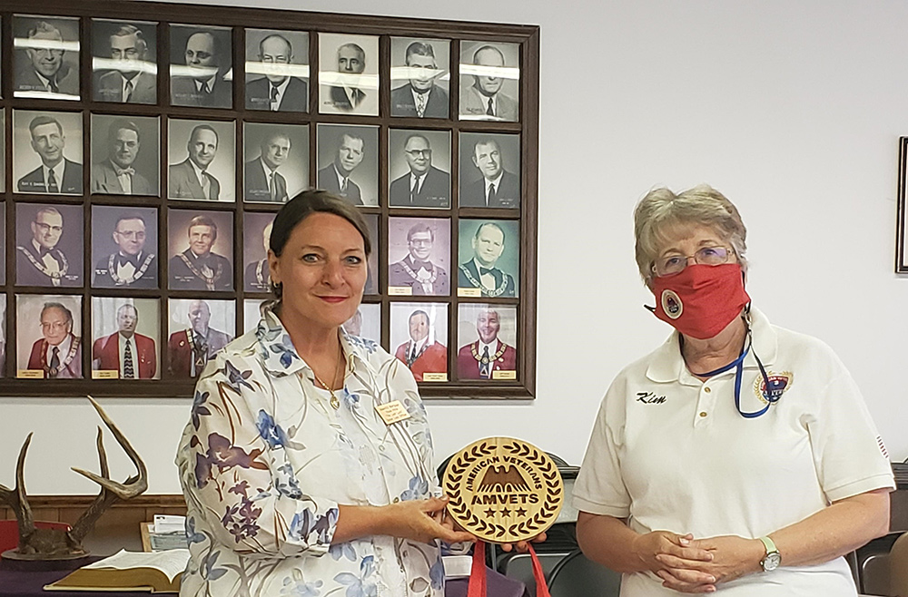 Diane holding AMVETS Plaque of THanks presented by Kim Craddock AUG 20 2020
