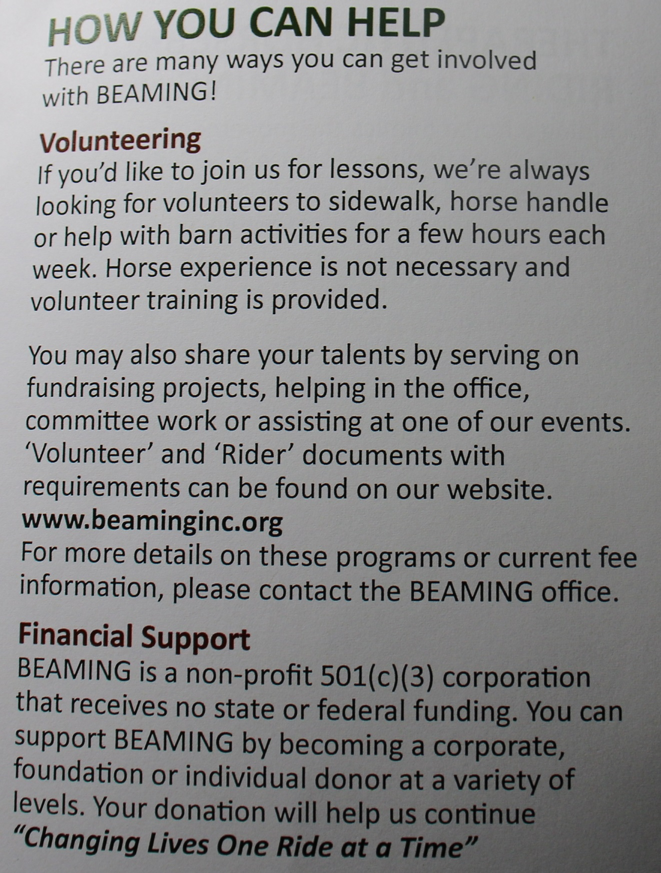 How you can help at Beaming